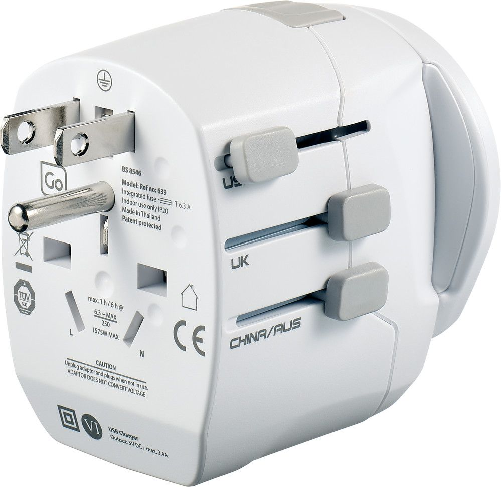 go travel worldwide adaptor with twin usb charger
